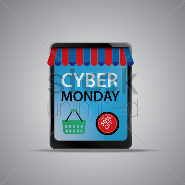 cyber monday sale on computer tablet vector graphic