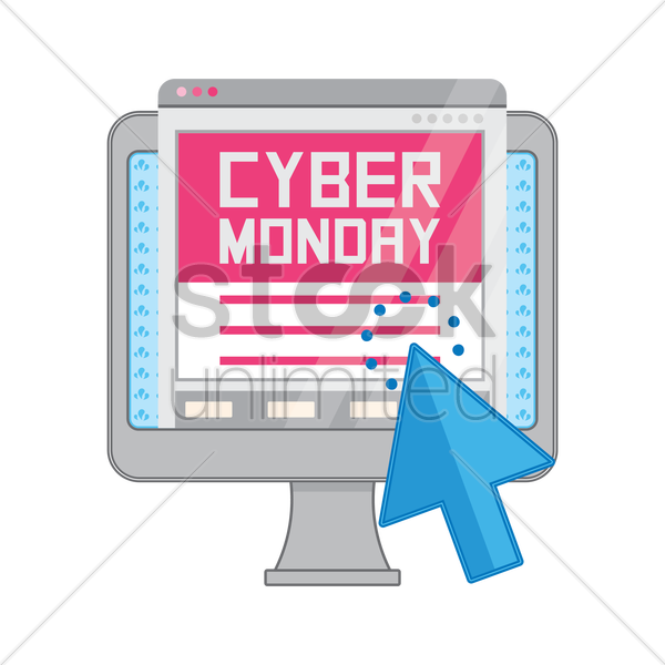 cyber monday sale on computer vector graphic