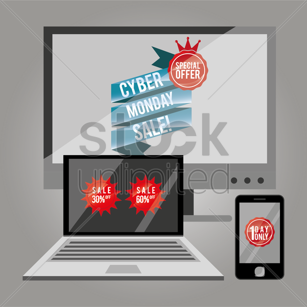 cyber monday sale on gadgets vector graphic