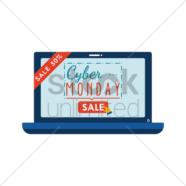 cyber monday sale on laptop vector graphic