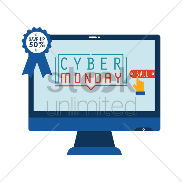 cyber monday sale on monitor vector graphic