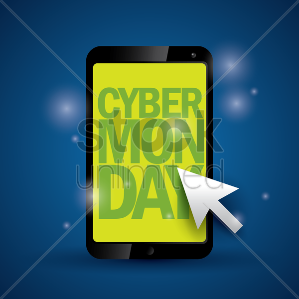 cyber monday sale on smartphone vector graphic