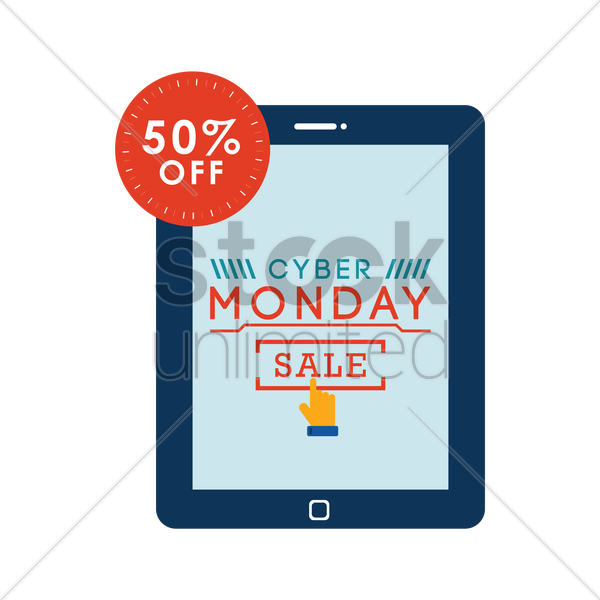 cyber monday sale on tablet vector graphic