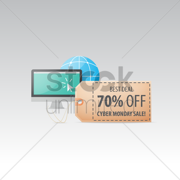 cyber monday sale tag with monitor vector graphic