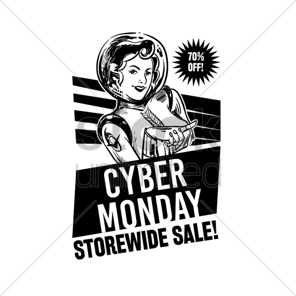cyber monday store wide sale label vector graphic