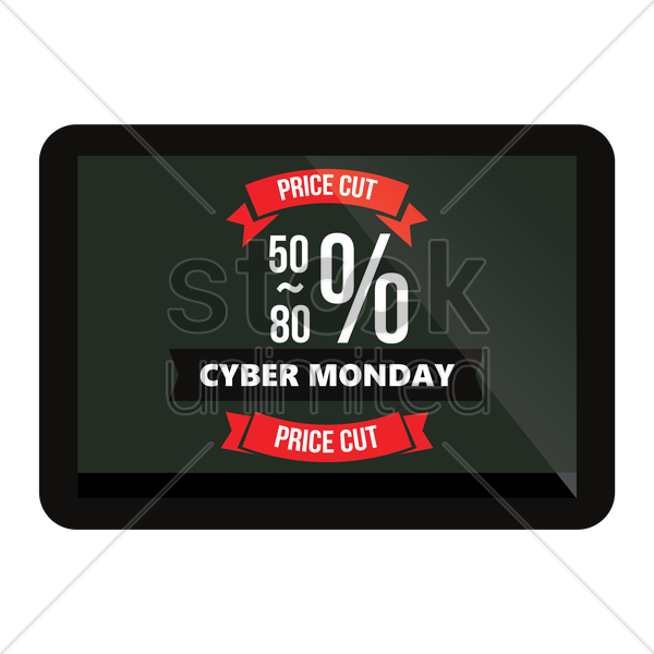 cyber monday tablet vector graphic