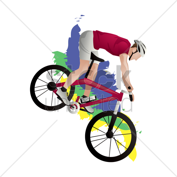 cyclist in action vector graphic