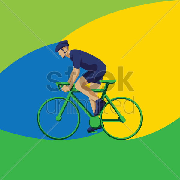 cyclist on bike vector graphic