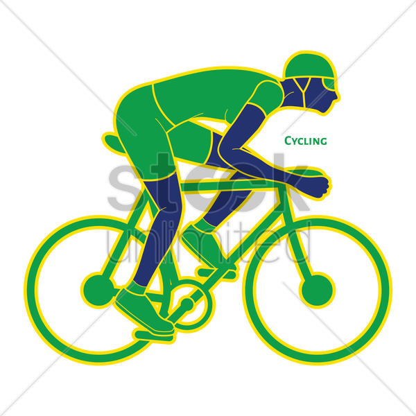 cyclist on his bicycle vector graphic