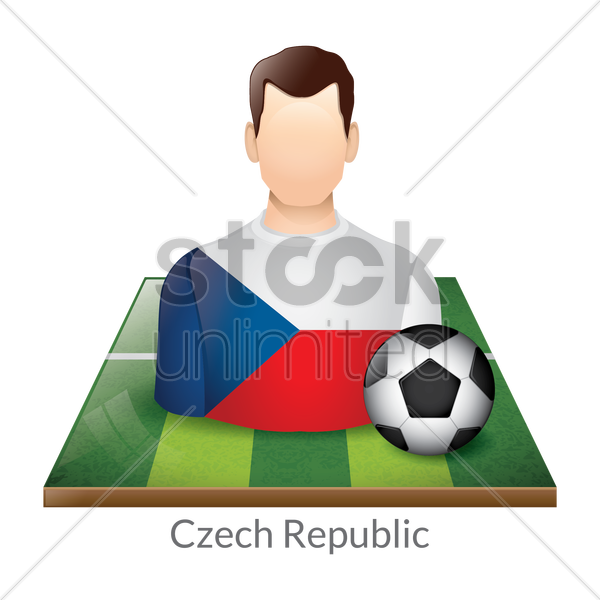 czech republic player with soccer ball on field vector graphic
