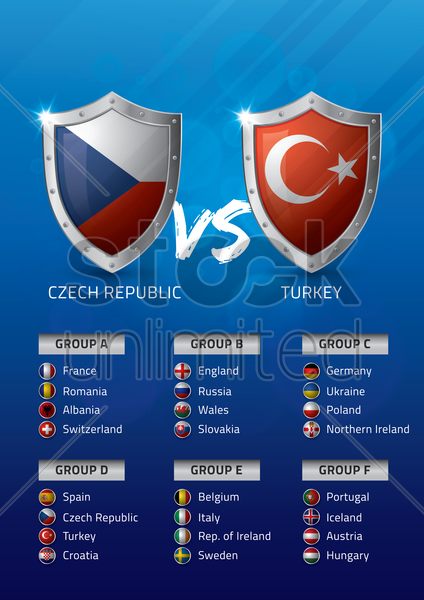 czech republic vs turkey vector graphic