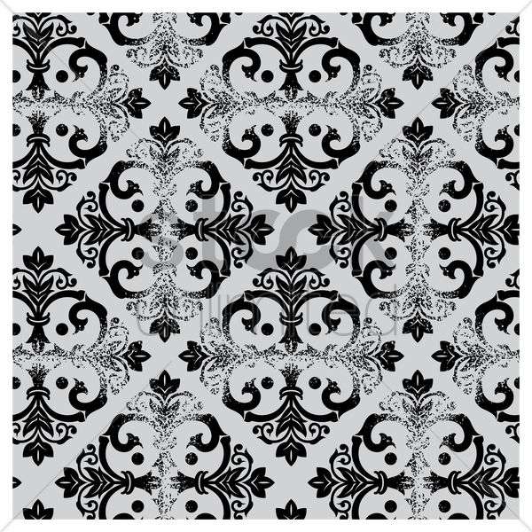 damask vintage black and white pattern vector graphic
