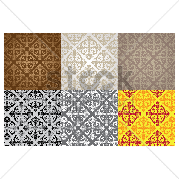 damask vintage pattern collection vector graphic