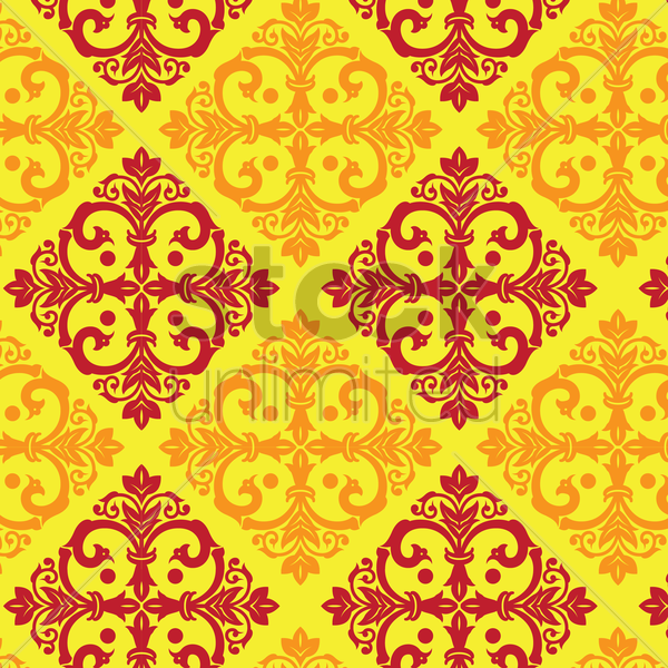 damask vintage yellow and maroon pattern vector graphic