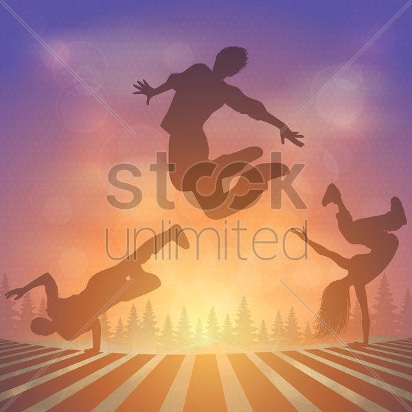 dancers in action vector graphic