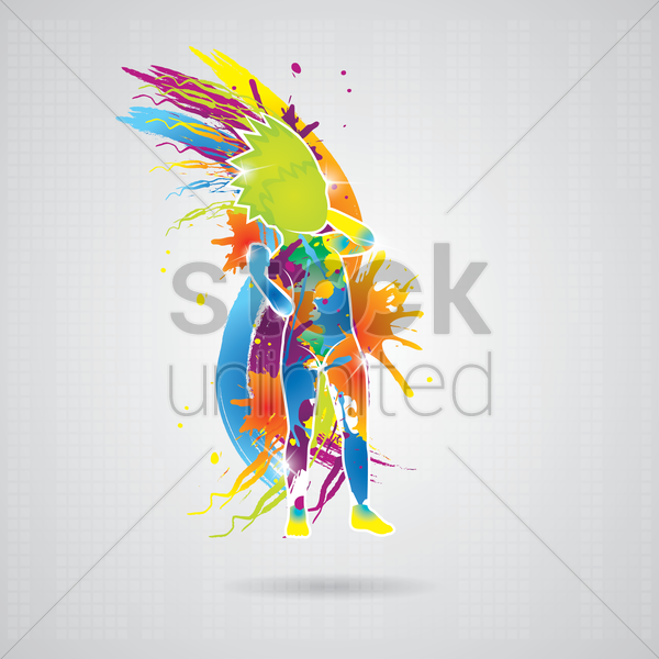 dancing boy with colorful splash vector graphic