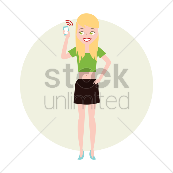 Free daughter holding a phone vector graphic