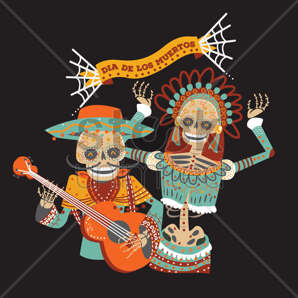 day of the dead musician and dancer vector graphic