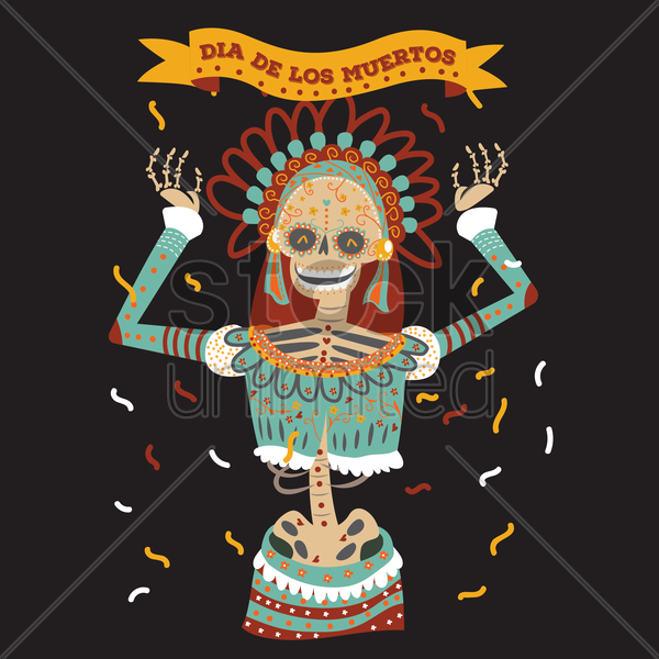 day of the dead woman vector graphic