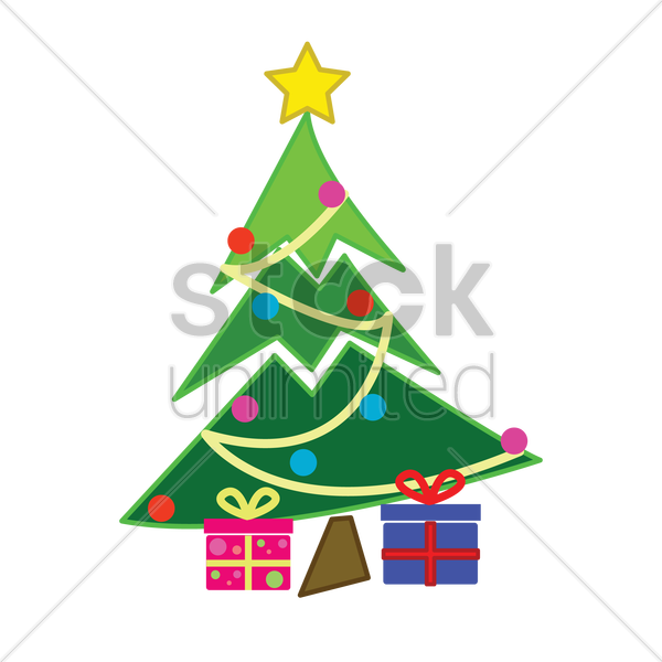 decorated christmas tree on white background vector graphic