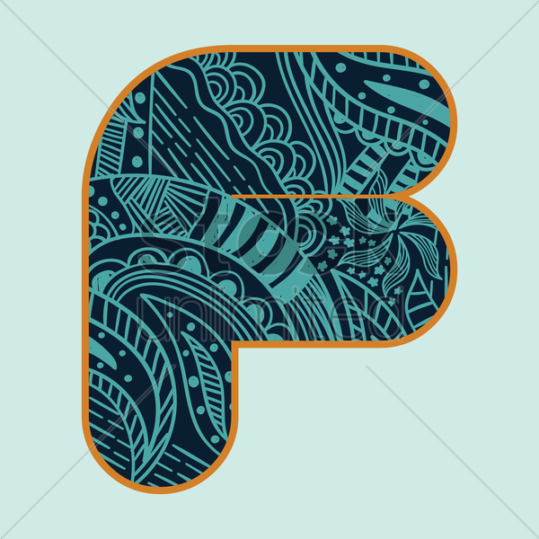 decorative alphabet f vector graphic