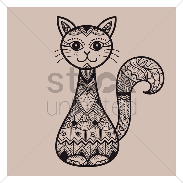 decorative cat design vector graphic