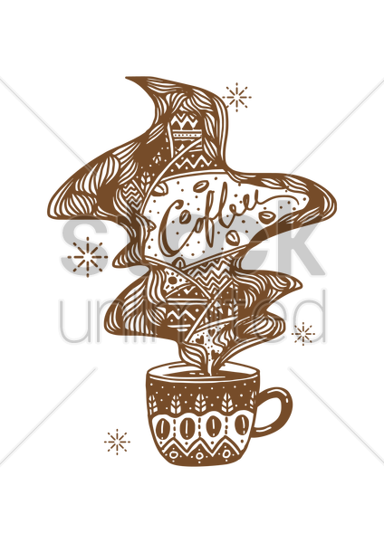 decorative coffee cup design vector graphic