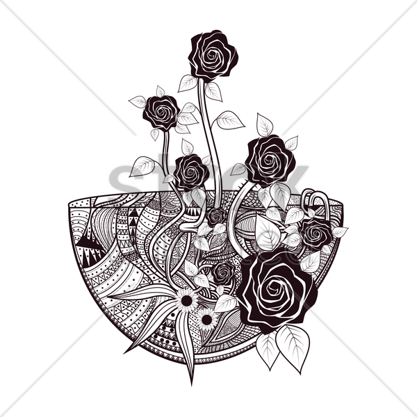 decorative of floral design vector graphic