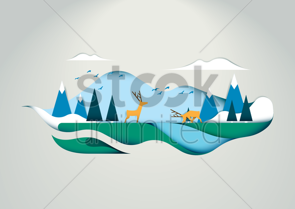 deer in forest vector graphic