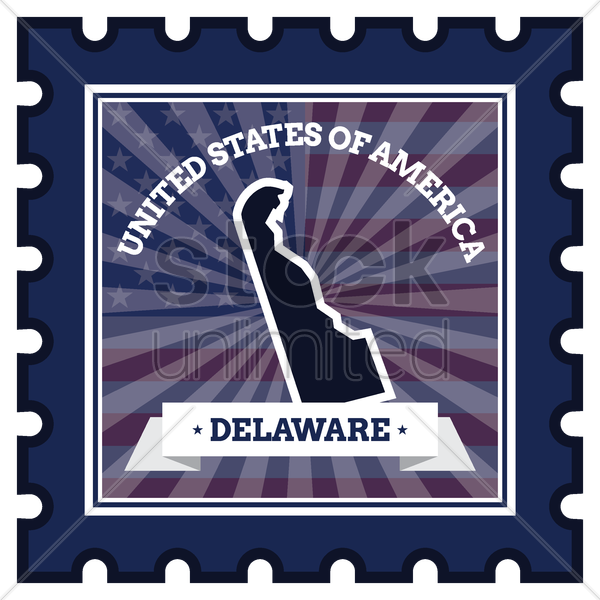 delaware postage stamp vector graphic