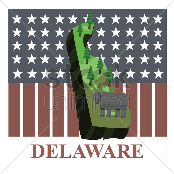 delaware state map vector graphic
