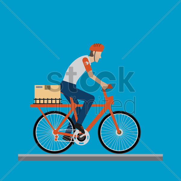delivery man on a bicycle vector graphic