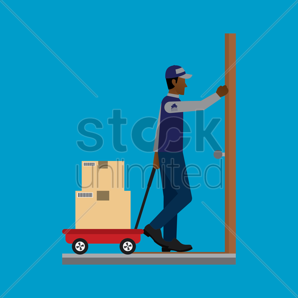 delivery man on duty with a pull cart vector graphic