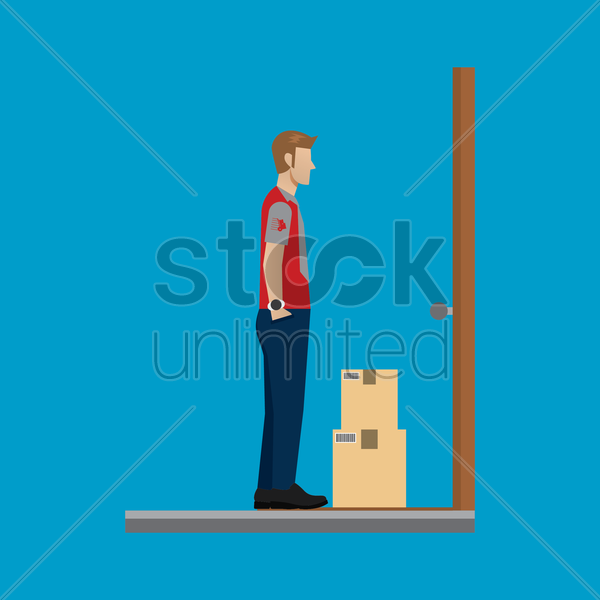 delivery man on duty vector graphic
