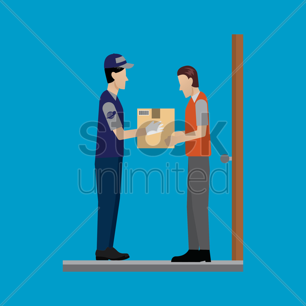 delivery man passing the package vector graphic