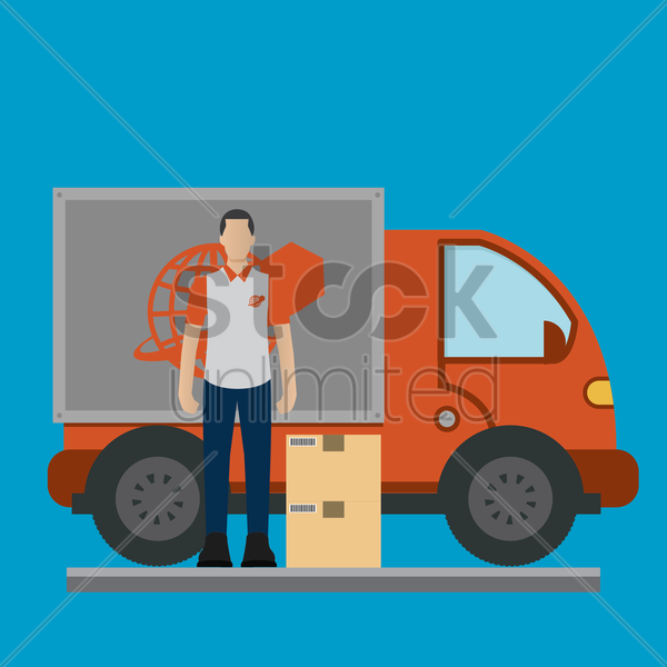 delivery man with a truck vector graphic
