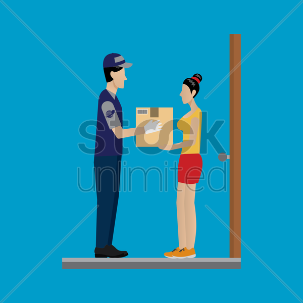 delivery me passing a package vector graphic