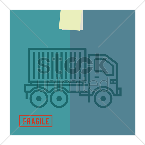delivery truck with load vector graphic