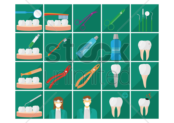 dental collection vector graphic