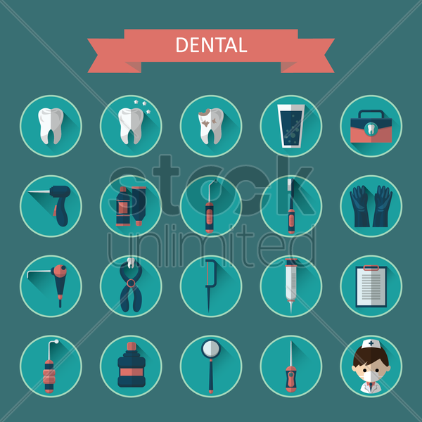 dental icon collection vector graphic