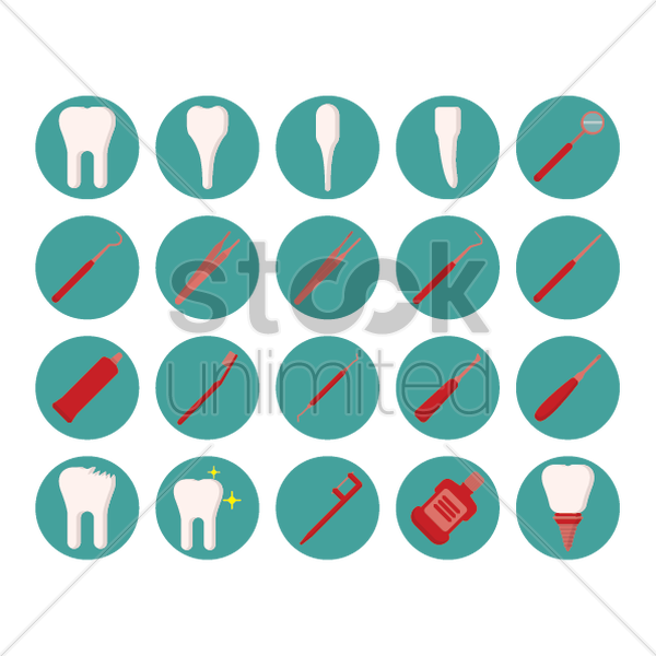dental icons vector graphic