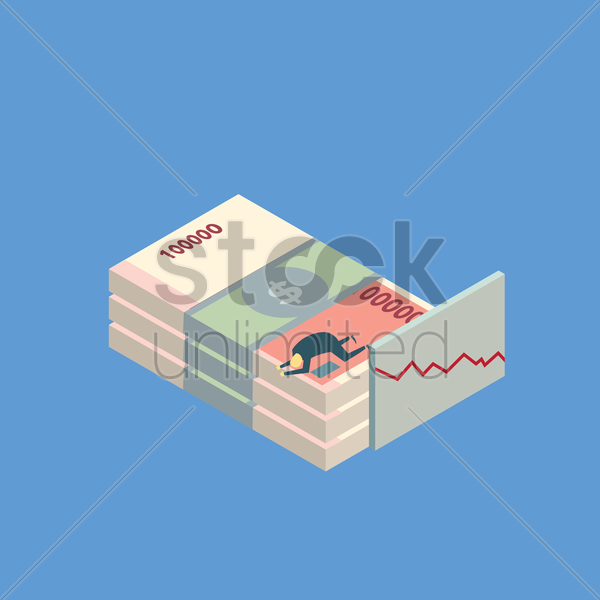depressed man on a stack of money vector graphic