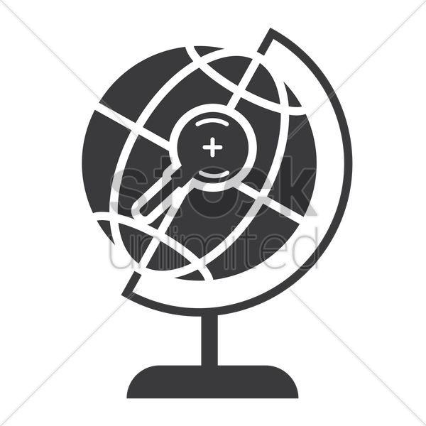 desk globe with magnifier icon vector graphic
