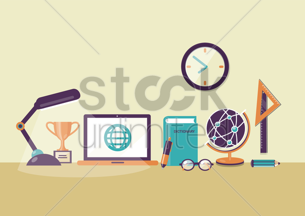 desk with laptop and stationery vector graphic
