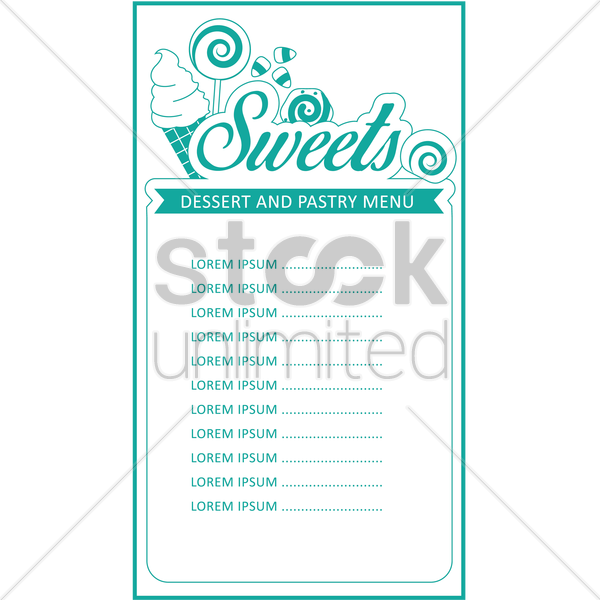 dessert and pastry menu card design vector graphic