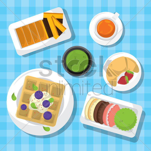 desserts with coffee vector graphic