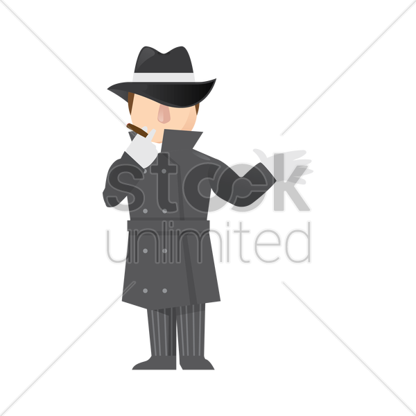 detective smoking vector graphic