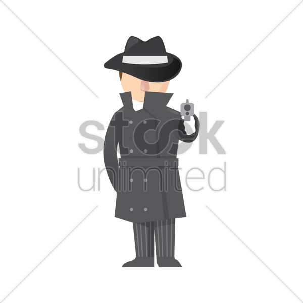 detective with gun vector graphic