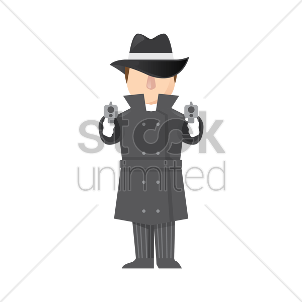 detective with guns vector graphic