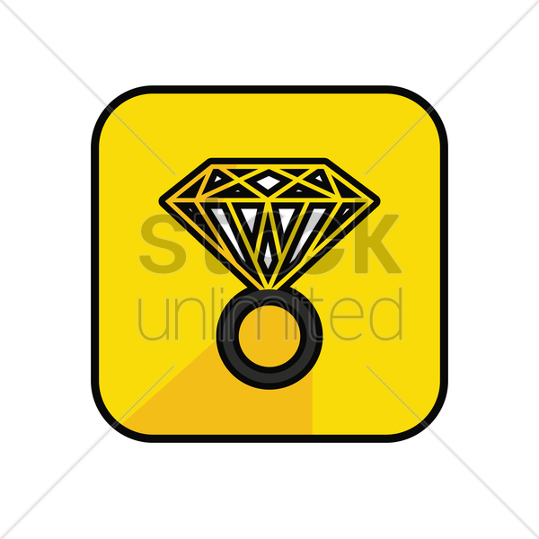 diamond ring on yellow background vector graphic